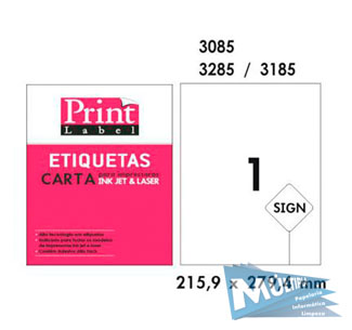 ETIQUETA INKJET E LASER CARTA 6185 279,4X215,9MM BRANCA CX 100UN PRINT LABEL