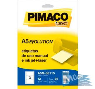 ETIQUETA A5Q-66115 66,0X115,0MM 36UN PIMACO