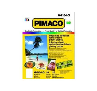 ETIQUETA INKJET E LASER A4104G BRANCA GLOSSY 10UN PIMACO