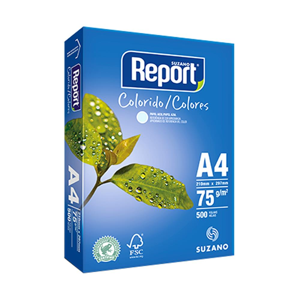 PAPEL SULFITE A4 AZUL 210X297MM 75G 500FL REPORT