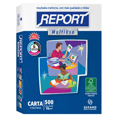 PAPEL SULFITE CARTA BRANCO 216X279MM 75G 500FL REPORT