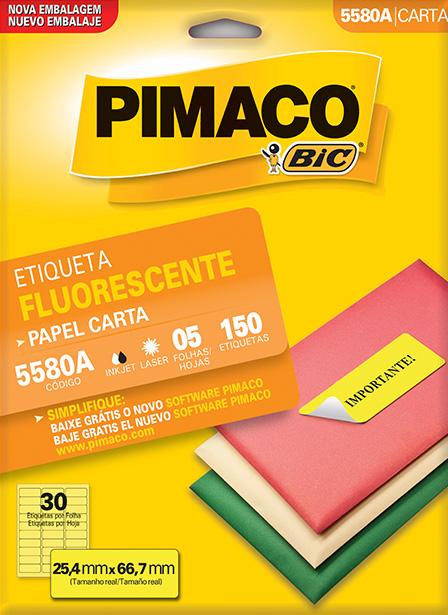 ETIQUETA 5580A 25,4X66,7 30 P/ FL 5FL FLUORESCENTE PIMACO