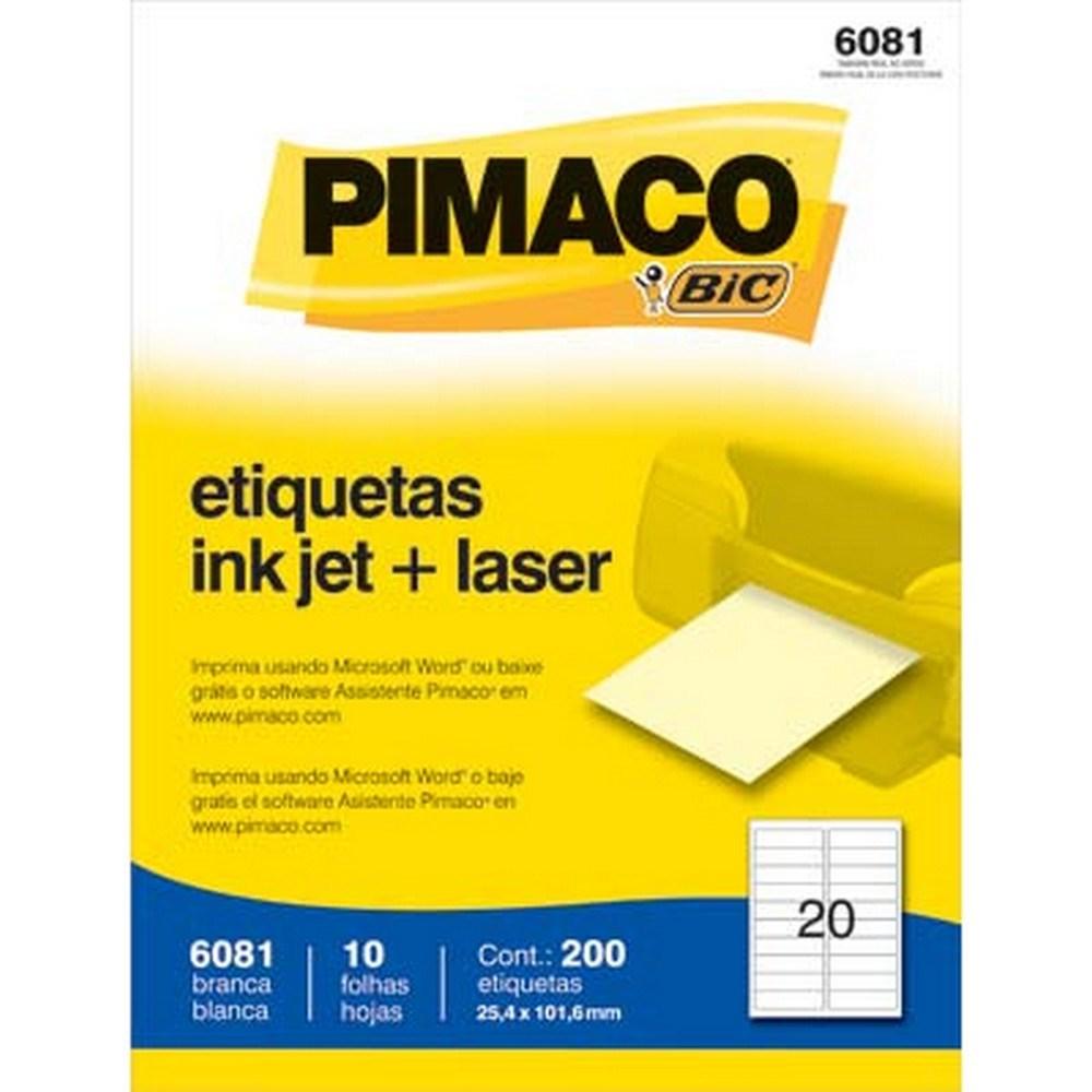 ETIQUETA 6081 25,4X101,6MM 20 P/FL 10FL PIMACO