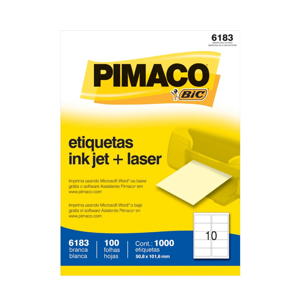 ETIQUETA 6183 50,8X101,6MM 10 P/FL 100FL PIMACO
