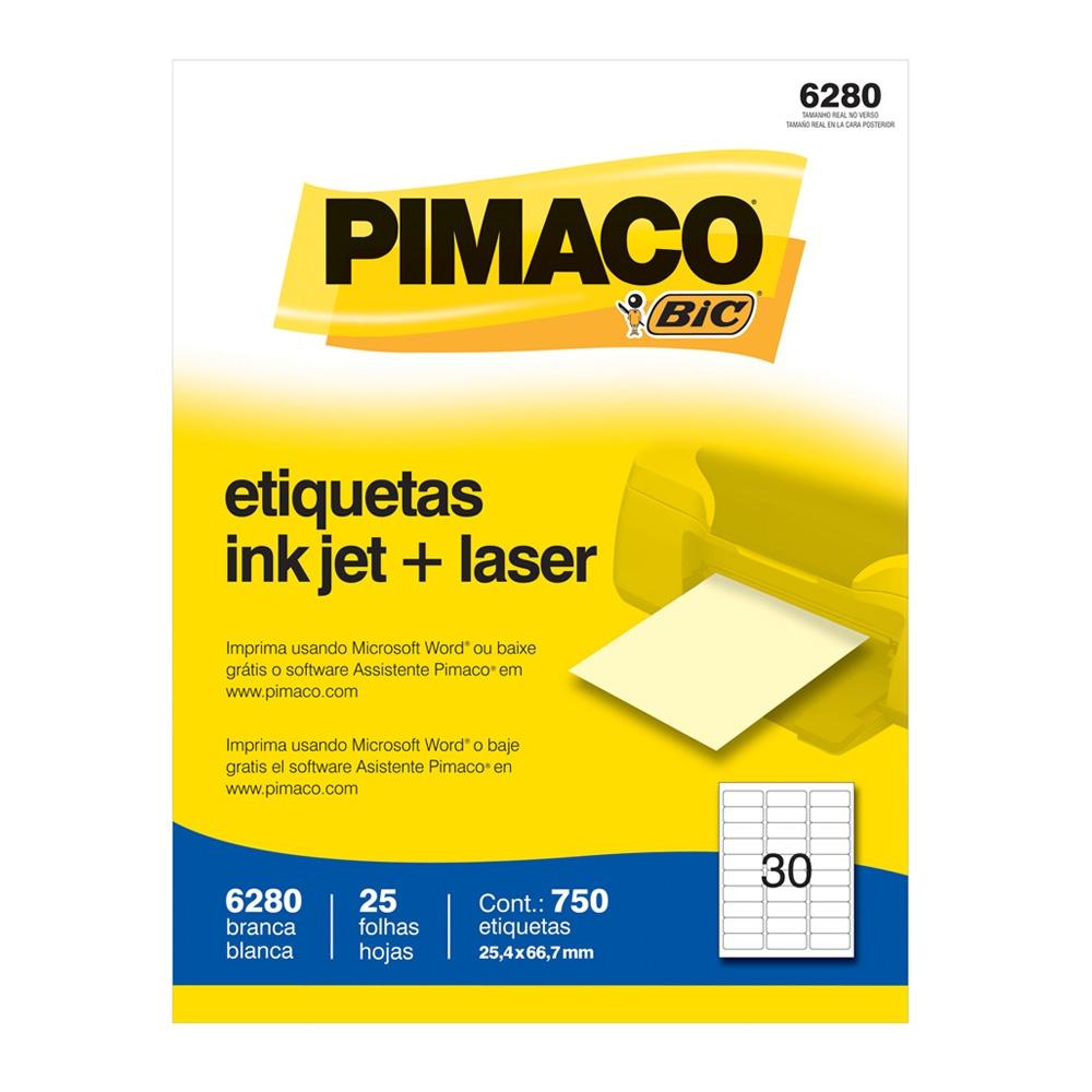 ETIQUETA 6280 25,4X66,7MM 30 P/FL 25FL PIMACO