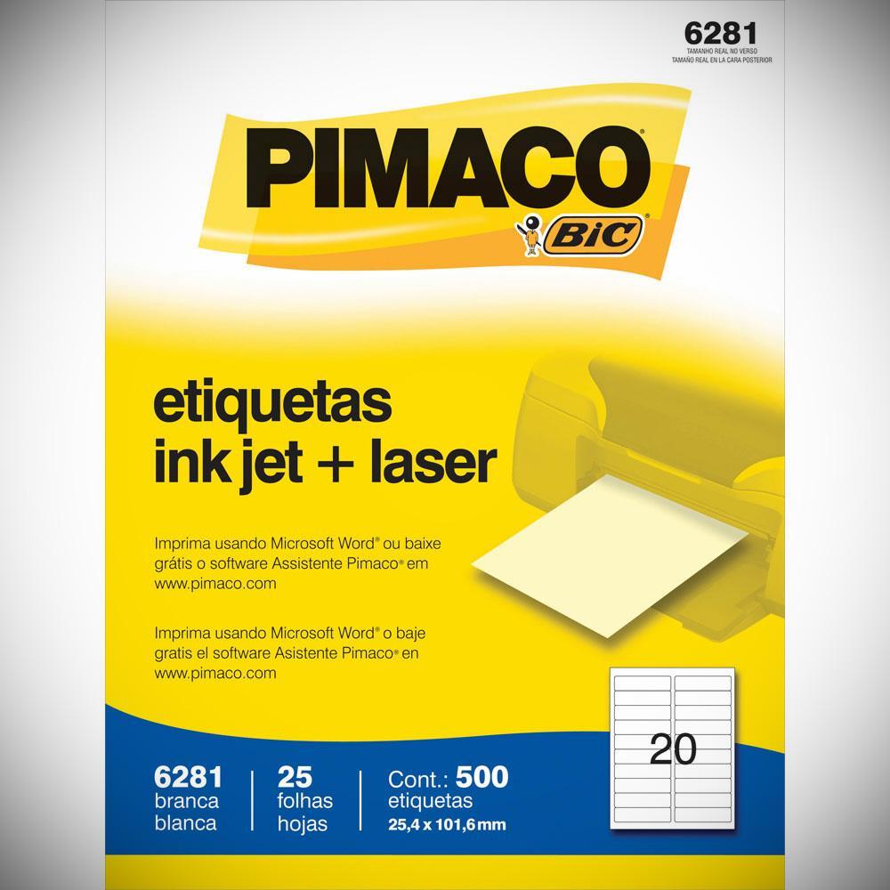 ETIQUETA 6281 25,4X101,6MM 20 P/FL 25FL PIMACO