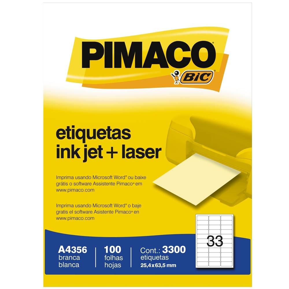 ETIQUETA A4356 25,4X63,5MM 33 P/FL 100FL PIMACO