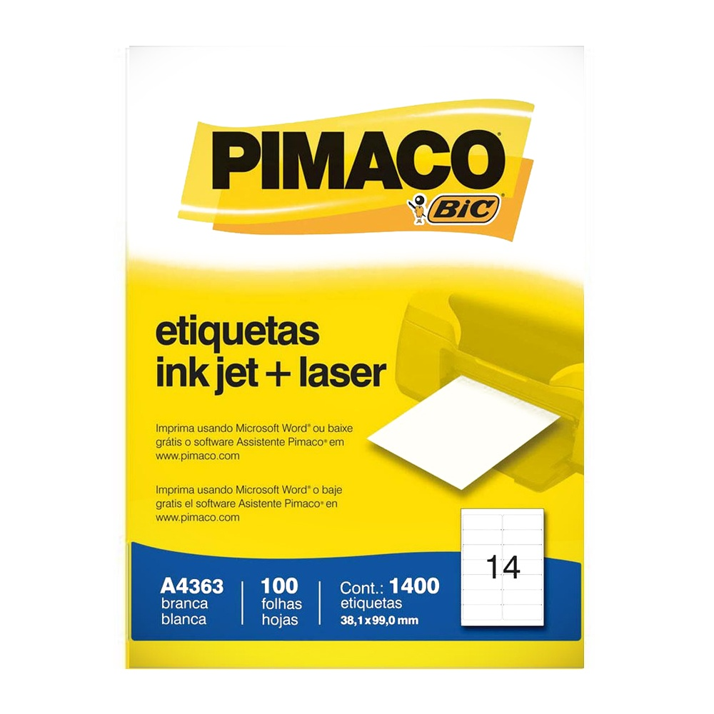 ETIQUETA A4363 38,1X99,0MM 14 P/FL 100FL PIMACO
