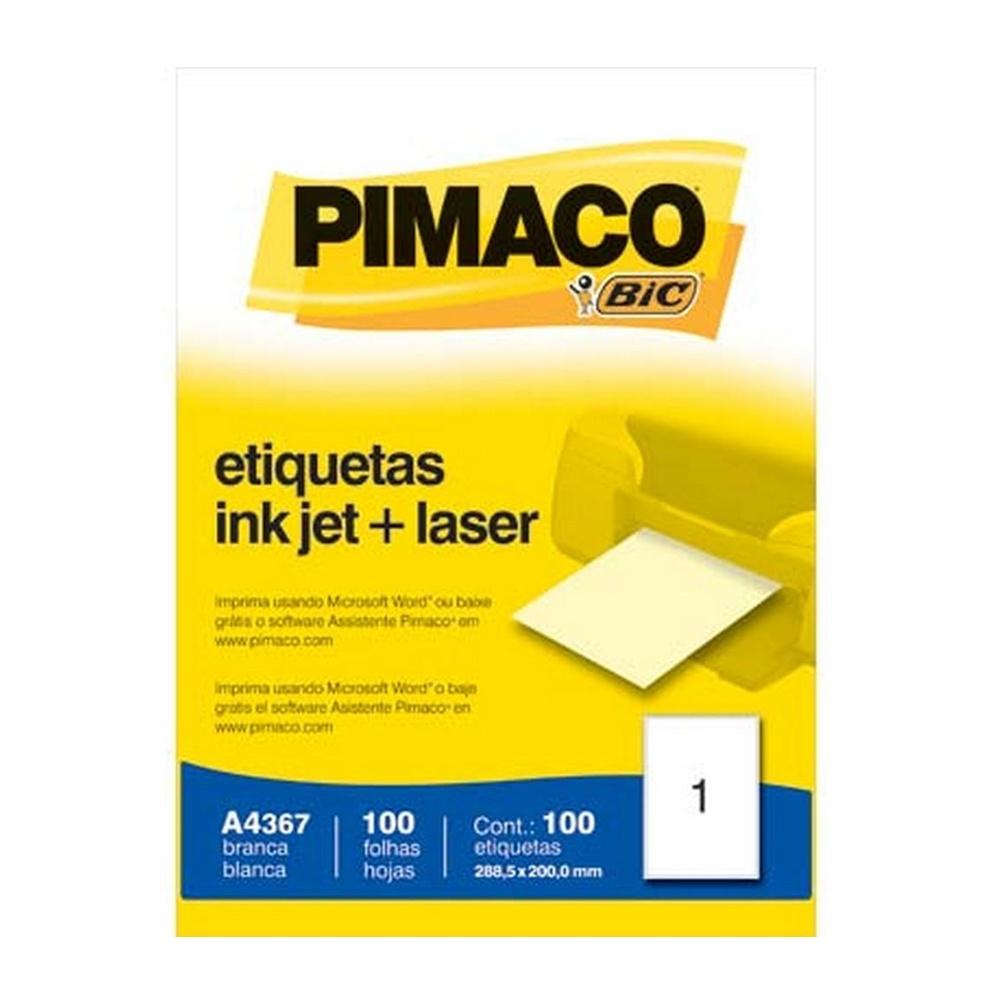 ETIQUETA A4367 288,5X200,00M 1 P/FL 100FL PIMACO