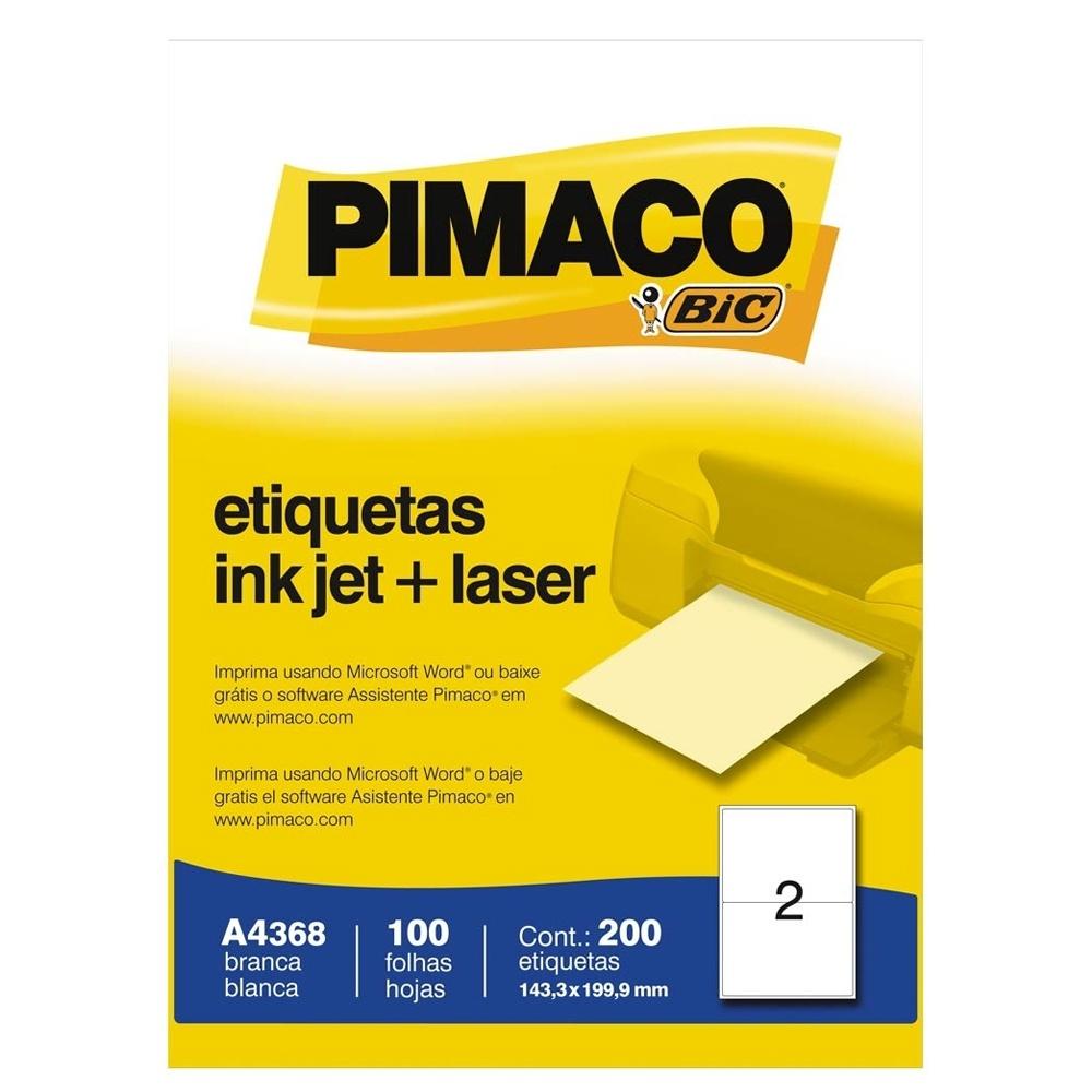 ETIQUETA INKJET E LASER A4368 143,4X199,9MM BRANCA CX 200UN PIMACO