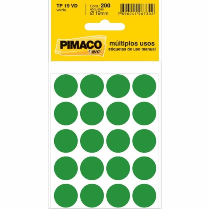 ETIQUETA TP-19 VERDE DIAM 18,79MM 200UN PIMACO