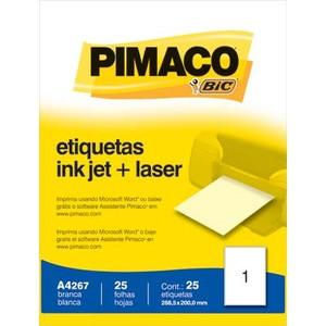 ETIQUETA INKJET E LASER A4267 288,5X200,0MM BRANCA CX 25UN PIMACO