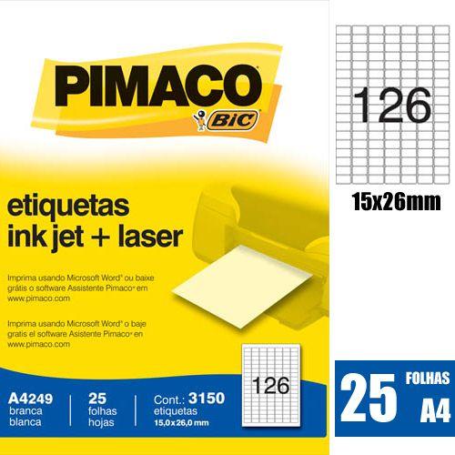 ETIQUETA A4249 15,0X26,0MM 126 P/ FL 25 FL PIMACO
