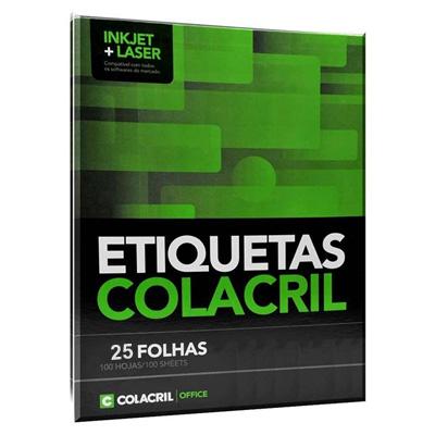 ETIQUETA INKJET E LASER CARTA 6185 279,4X215,9MM BRANCA 100UN COLACRIL