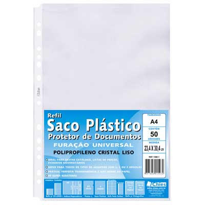 ENVELOPE PLASTICO A4 0,10MM 13 FUROS 50UN 1360-1 CHIES