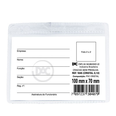 CRACHA PVC CRISTAL 7X10CM S/ PRESILHA HORIZ 1045 DAC