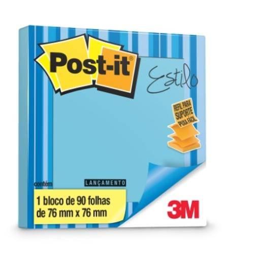 BLOCO ADESIVO 76X76 AZUL CEU 90FL POST-IT POP UP ESTILO 3M