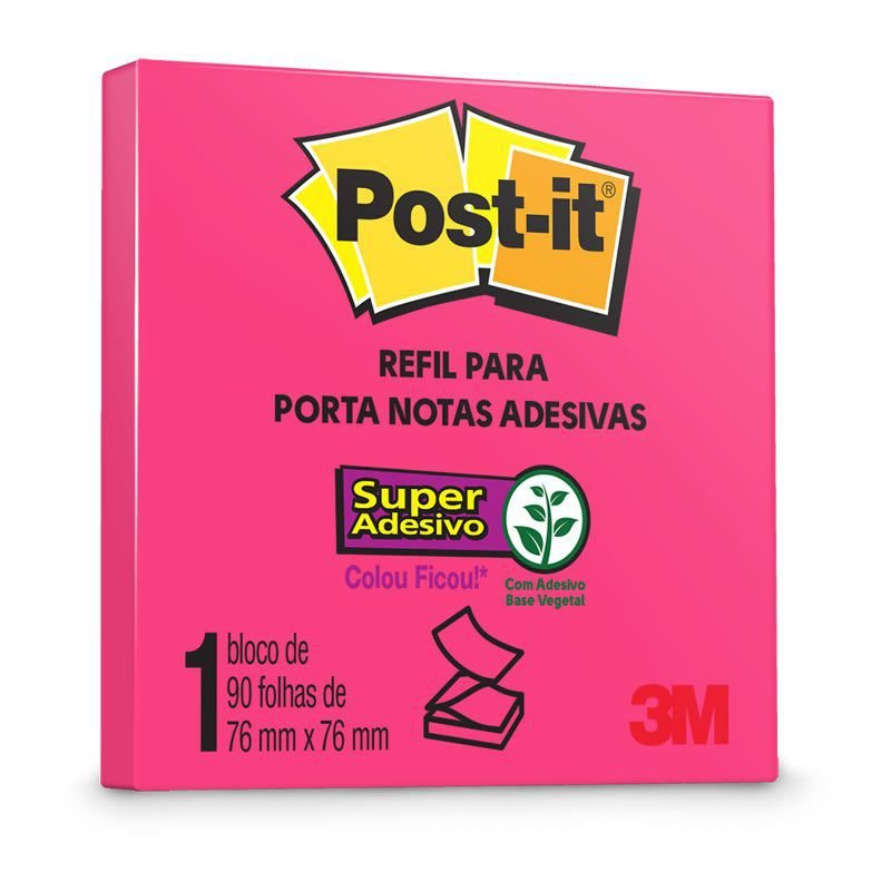 BLOCO ADESIVO 76X76MM PINK NEON 90FL POST-IT POP UP 3M