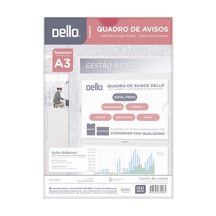EXPOSITOR QUADRO DE AVISO A3 PP CRISTAL 0533.H DELLO