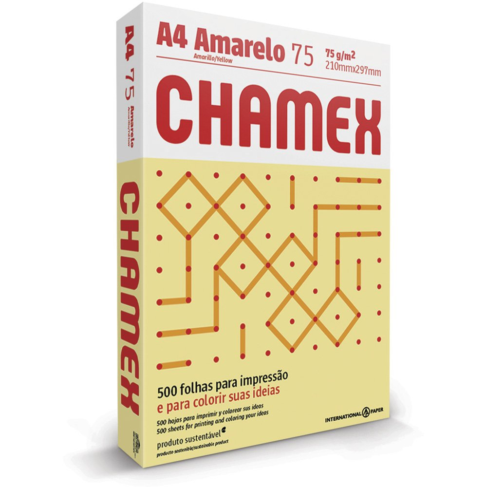 PAPEL SULFITE A4 AMARELO 210X297MM 75G 500FL CHAMEX