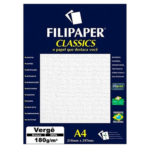 PAPEL VERGE 180G BRANCO 210X297MM 50FL FP00977 FILIPAPER