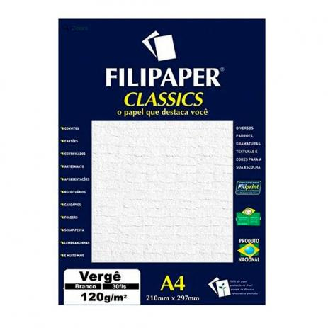 PAPEL VERGE 120G BRANCO 210X297MM 30FL FP01869 FILIPAPER