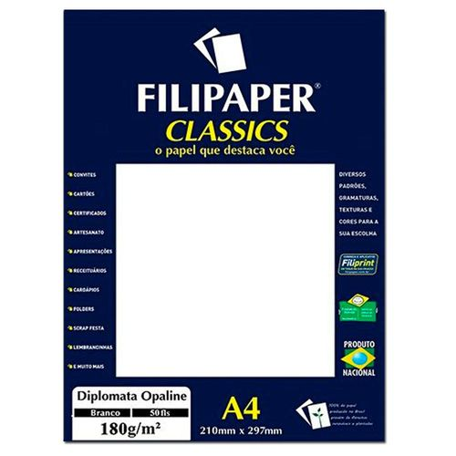 PAPEL DIPLOMATA 180G BRANCO 210X297MM 50FL FP01445 FILIPERSON