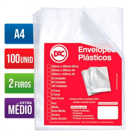 ENVELOPE PLASTICO A4 0,12MM 2 FUROS BLISTER 100UN 5179-A4-100 DAC