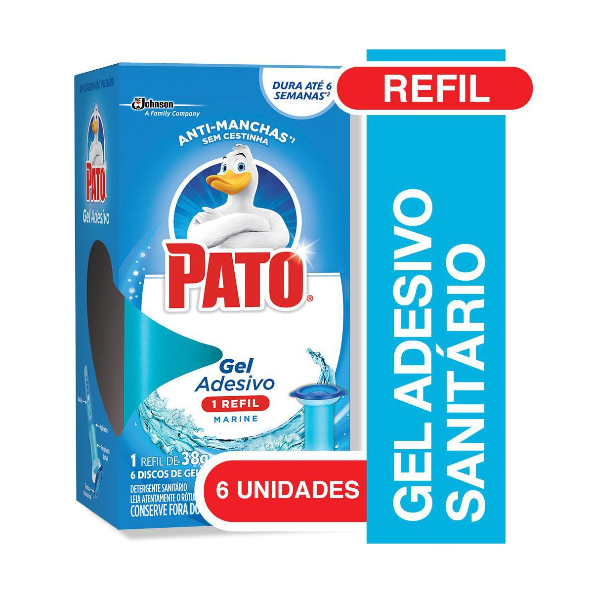 GEL SANITARIO ADESIVO MARINE REFIL 38G 6 DISCOS PATO
