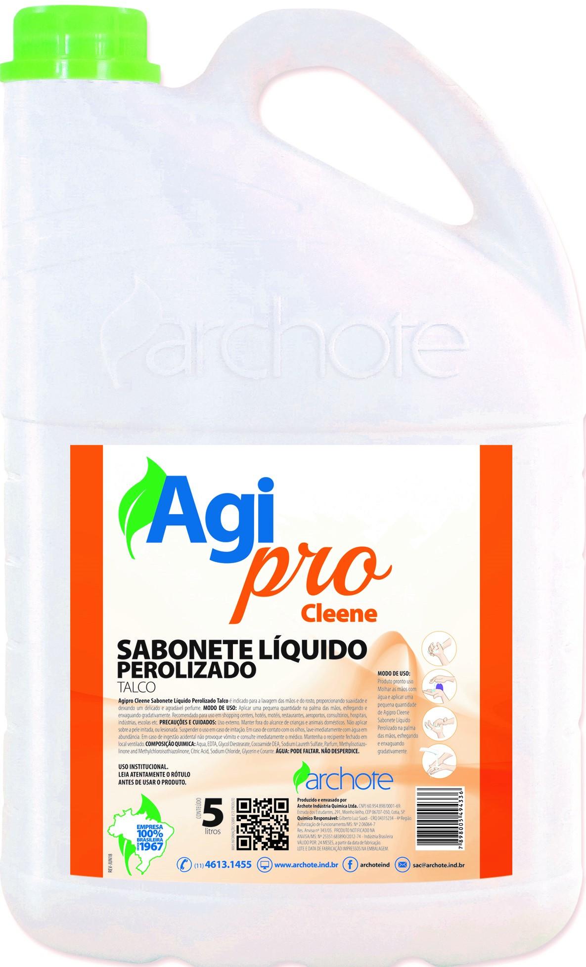 SABONETE LIQUIDO PEROLADO TALCO 5L AGI PRO CLEENE ARCHOTE