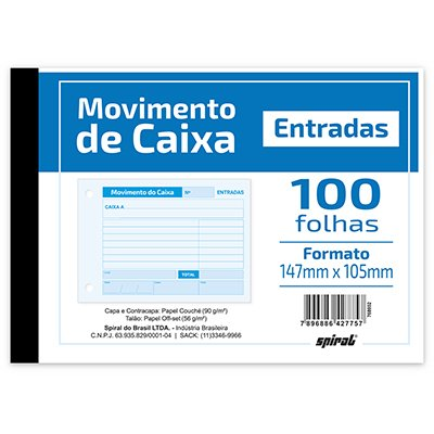 MOVIMENTO DE CAIXA ENTRADA AZUL BLOCO 100FL