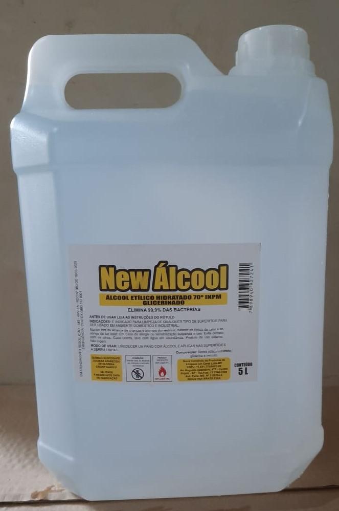 ALCOOL LIQUIDO 70° LIMPEZA HOSPITALAR 5LT NEW